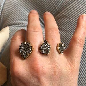 Kendra Scott Multi Finger Ring. Silver Drusy